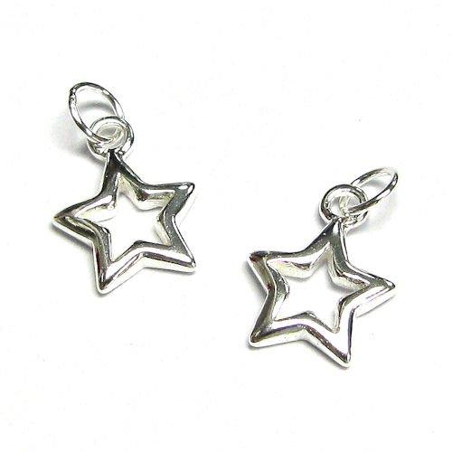 2 pcs .925 Sterling Silver Twinkle Star Dangle Pendant Charm 13mm