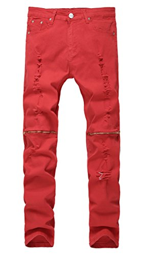 Men's Red Ripped Skinny Distressed Destroyed Straight Fit Jeans Pants with Holes