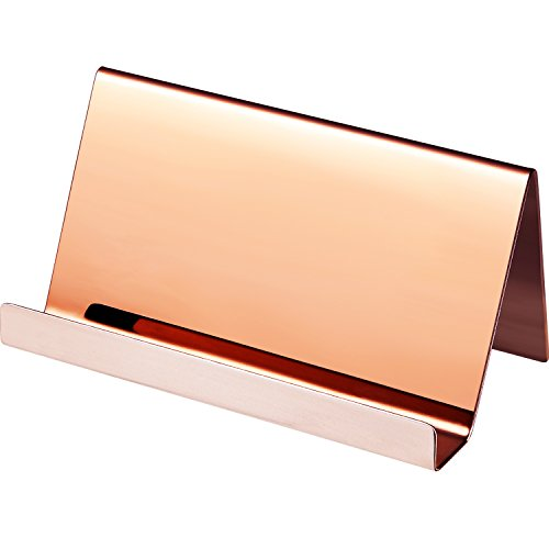 (Maxdot Stainless Steel Business Card Holders Name Cards Display Desktop Organizer, Rose Gold (1))