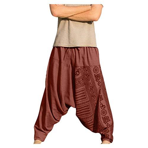 Men's Casual Baggy Pants Drawstring Cotton Linen Plus Size Yoga Loose Harem Boho Pants (XL, Orange)