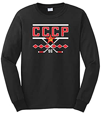 Cybertela Men's CCCP 1986 Russia Hockey Long Sleeve T-Shirt (Black, Small)
