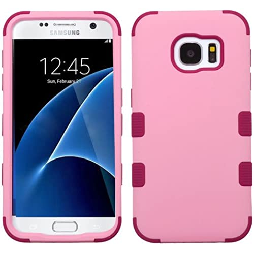 Galaxy S7 Case, Rock Me Wireless (TM) 2 items Bundle - 24K Gold Plating Sticker and Triple Layers Hybrid Protector Case Cover for Samsung Galaxy S7. (Soft Pink Sales