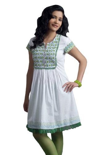Jayamala Damen Bluse floral weiße Tunika mit Stickerei