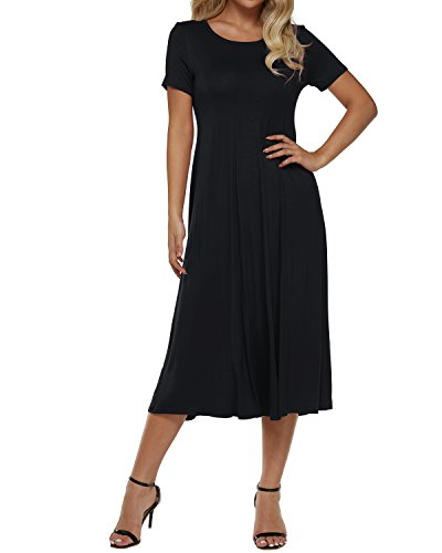 Zanzea Women Plain Dress Short Sleeve Aline High Waist Casual Solid Basic Swing Midi Dresses Cocktail