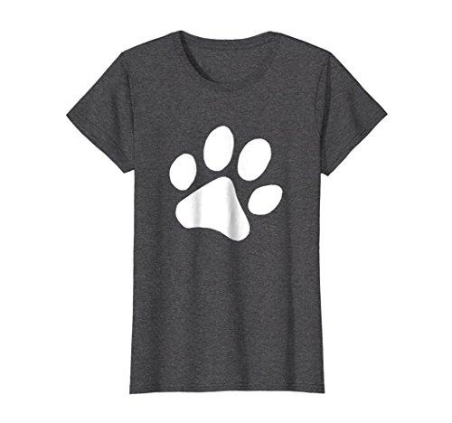 Womens Dog Paw Print Dog Print Dog Themed Dog Owner Dog Love Shirt Medium Dark Heather - Dog Themed Clothing