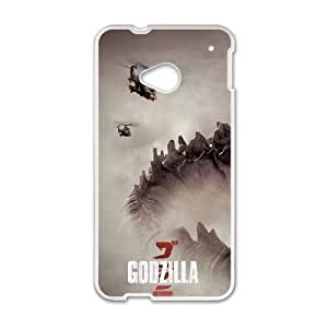 Durable Hard cover Customized TPU case Godzilla 2014 HTC One M7 Cell Phone Case White