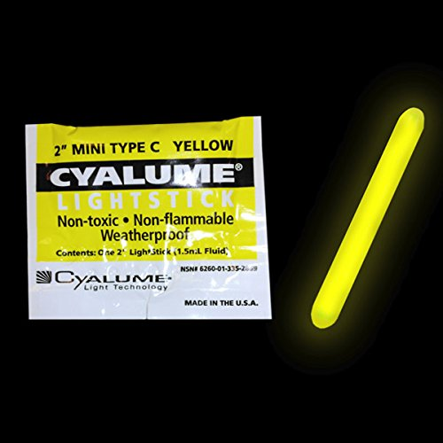 Cyalume ChemLight Military Grade Mini Light Stick, 2'' Length, 4 Hour Duration, Yellow (Pack of 50)