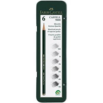 Faber-Castell 9000 Graphite Pencils Art Tin Set of 6 - HB - 8B
