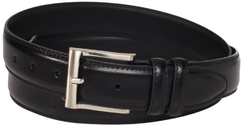 [Florsheim Men's Big-Tall Pebble Grain Leather Belt 32MM, Black, 50] (Big Tall Belt)