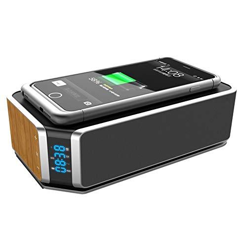NFY Bluetooth Speaker Despertador, portátiles Boombox Altavoz inalámbrico con Cargador inalámbrico NFC LED AUX TF Entrada...