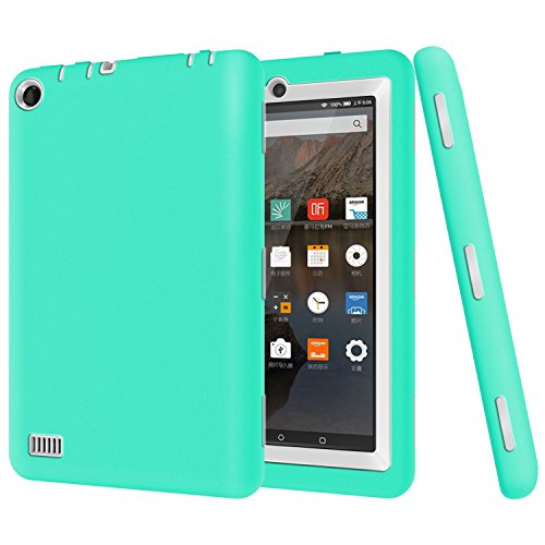 Photo - Fire 7 case, Fire 7 2015 case, Asstar 3 in 1 Hybrid Rugged Shockproof Impact Resistant Armor Defender Protection Case for Amazon Fire Tablet (7 inch Display, 2015 Release Only) (Mint Grey)
