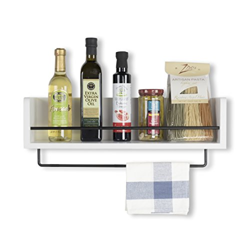 (Rustic State Kitchen Wood Wall Shelf with Metal Rail Spice Rack White 20 Inch)