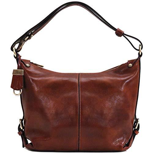 Capri Tote - Floto Capri Tote Full Grain Leather Shoulder Bag Crossbody in Vecchio Brown