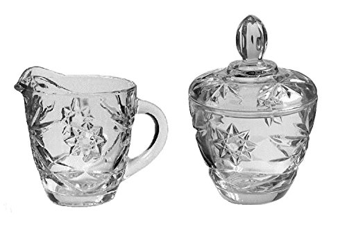 Anchor Hocking Prescut Clear Glass ( Creamer & Sugar Bowl Set ) Clear Pressed Glass Creamer