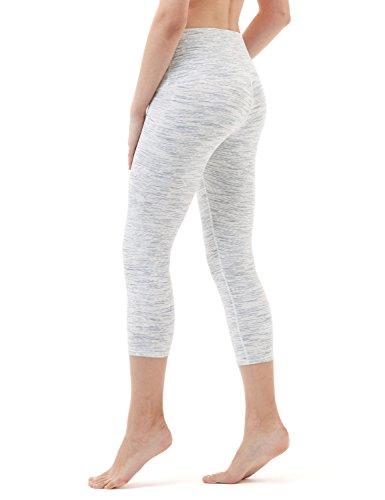 - TSLA Yoga Pants 21 inches Capri High-Waist Tummy Control w Pocket, Yogabasic Thick Contour(fyc32) - Spacedyewhite, Medium (Size 8-10_Hip39-41 Inch)
