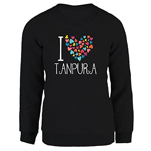 Idakoos I Love Tanpura Colorful Hearts Musical Instrument Womens Sweatshirt