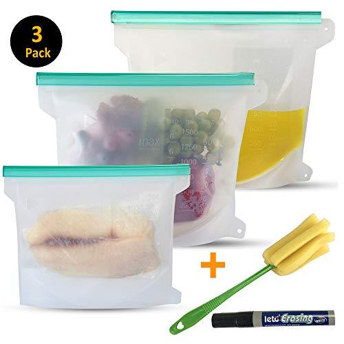 Reusable Silicone Bag For Fresh Food Storage - 3 Pack (2 Large and 1 Medium, Set of 3) + Bonus Bottle Brush + Dry Erase Markers, Best for Sandwich, Liquids, ()