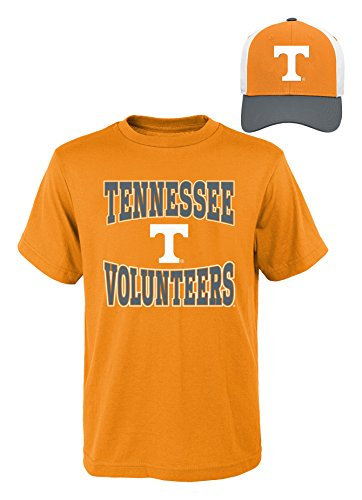 (NCAA Tennessee Volunteers Youth Boys 8-20 Tee & Hat Set, Small (8), Assorted Colors)