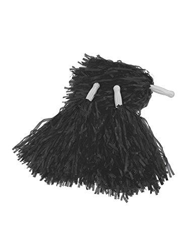 Cheerleading Plastic Pom Poms (1 dozen) - Metallic Pom Black Poms