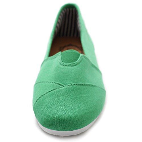 Ollio Damen Schuh Slip On Sneaker Canvas Flat Grün