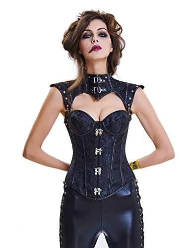 CLOUDY.LEE Women's Black Faux Leather Bustier Metal Style Buckle Punk Corset with Halter X-Large 1714