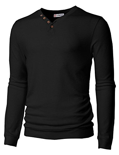 H2H Mens Casual Henley T-Shirts V-Neck Long Sleeve Knitted Tops with Pointed Buttons