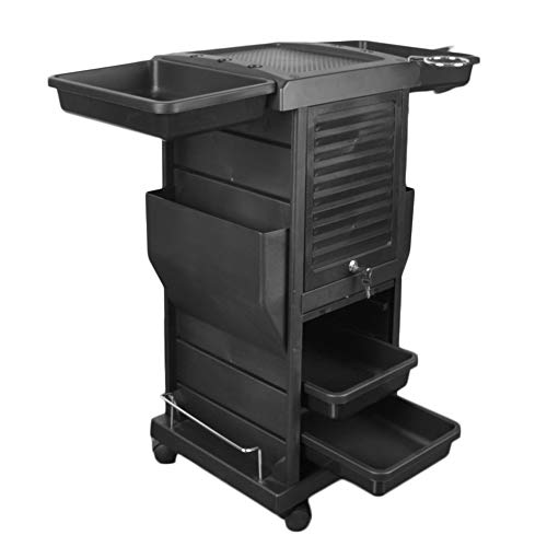 Mefeir Premium Salon SPA Trolley Cart & Lockable 2 Keys Rolling Wheels Tool Station & Barber Hairdresser Stylist Storage Organizers with 4 Drawers, 2-Side Magazine Pockets, Top Working Area – Black