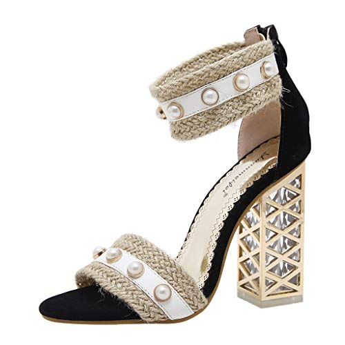 (MmNote Women Shoes, Women's Pearls Hundreds Retro National Characteristics Gorgeous Fashion Stilettos Sandal Black)