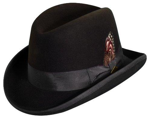 STACY ADAMS Men's Homburg Wool Felt Hat w/Grosgrain Band Chocolate 2XL