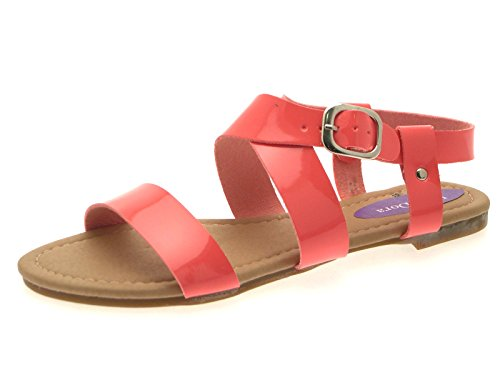 Lora Dora Womens Patent Flat Strappy Sandals Ladies Summer Buckle Open Shoes Size UK 3 - 8 Coral sVgnb9BGQ
