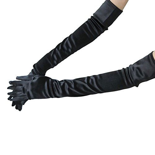 Dress Gloves, Costumes Gloves, WITERY Full Finger Stretchy Satin Party Fancy Dress Accessory / Bridal Wedding Gloves / Prom Dress Gloves Costumes Gloves For Ladies Women Black