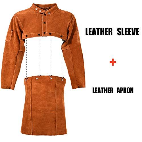 Leaseek Leather Welding Jacket - Heavy Duty Welding Apron with Sleeve (X-Large) by LeaSeeK (Image #1)
