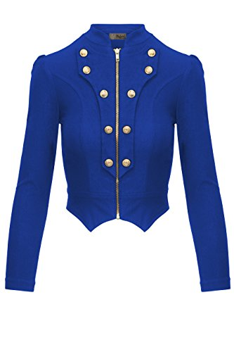 Women's Military Crop Stretch Gold Zip up Blazer Jacket KJK1125 Royal Large