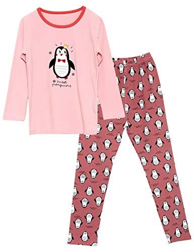 Girls Penguin Pajamas Set 100% Cotton Long Sleeve & Pants Snug Fit Kids Toddler Sleepwear Size 12