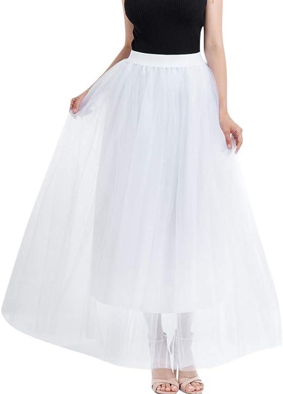 Faldas de Tul Mujer Disfraz Larga Color Sólido Multi-Capa de la ...
