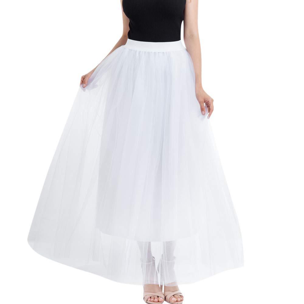 Kingspinner Women's Mesh Bubble Skirt Ankle Length Tutu Maxi A-line Long Skirt Pleated Princess Skirt (White, Free Size)