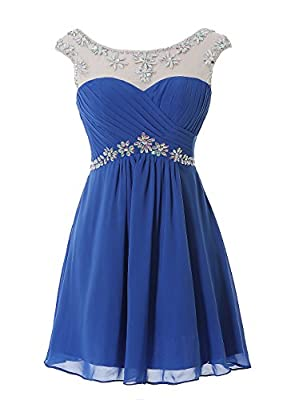 Kiss Dress Women's Chiffon Homecoming Dresses Beaded Short Cocktail Party Gowns