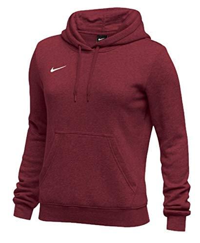 Nike Womens Pullover Club Fleece Hoodie (Large, Cardinal)