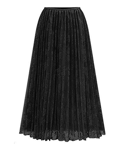 Femme Jupe Longue lgant Plisse Taille Elastique Jupe Noir