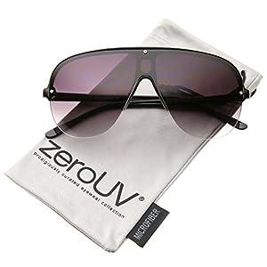zeroUV - Oversize Flat Top Semi-Rimless Frame Shield Aviator Sunglasses 70mm (Black/Lavender)