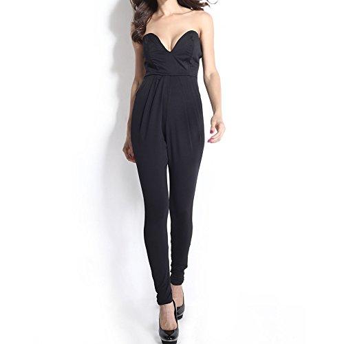 Stretch V-neck Bodycon Bodysuit Playsuit Romper Jumpsuit For Women Girls (Medium, Black)