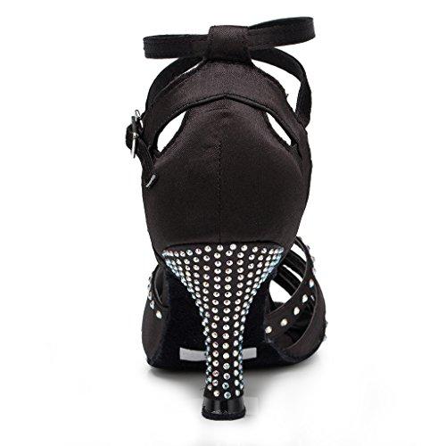 Miyoopark Donna Fibbia In Raso Di Carattere Moderno Scarpe Da Ballo Latino Nero