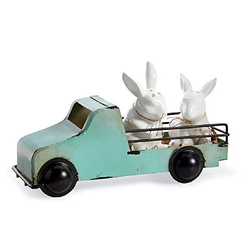 (Mud Pie 46000097 Vintage Inspired Easter Bunny Shaker in Tin Truck Salt and Pepper Caddy Set, One size, White)