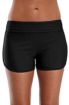 V FOR CITY Women's Swim Shorts Solid Bathing Suit Bottoms Stretch Board Shorts