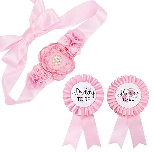 Baby Pink Maternity Sash & Mommy Daddy Corsage Set - Baby Shower Sash Baby Girl Pregnancy Sash Keepsake Baby Shower Flower Belly Belt