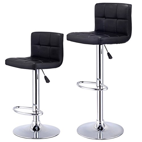 Set of 2-Bar Stools Durable PU Leather Pneumatic Adjustable 360 Degree Swivel Pub Chairs New / Black #1002 (Naples Furniture Fl Outdoor Cushions)