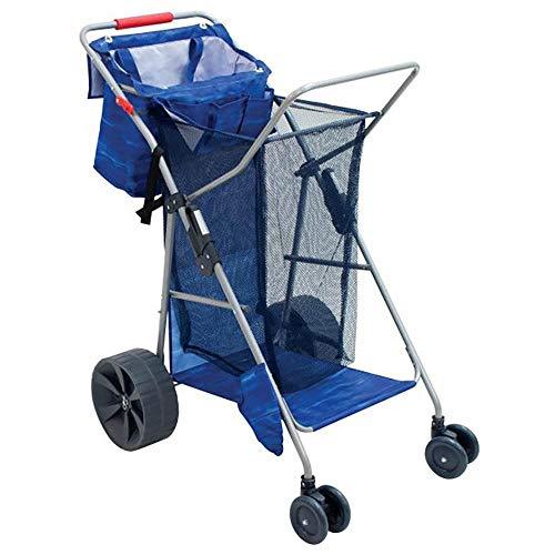 RIO Brands Deluxe Wonder Wheeler Portable Folding Outdoor Utility Cart, Blue
