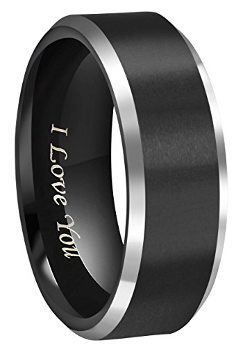 - CROWNAL 8mm Black Tungsten Couple Wedding Bands Rings Men Women Polished Beveled Edges Matte Brushed Finish Engraved I Love You Size 3.5 To 17 (8mm,10)