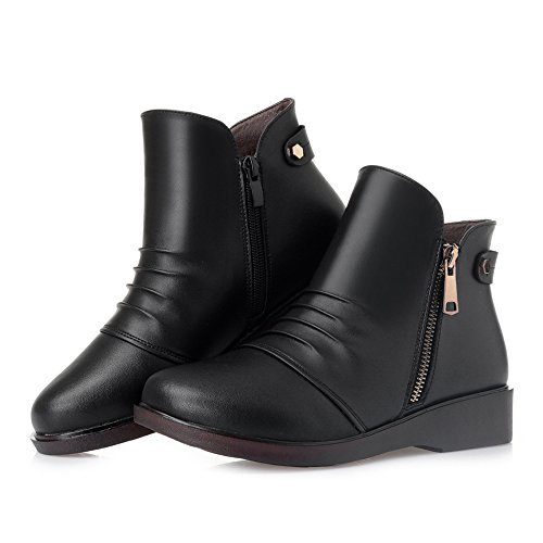 Dethan Toe Ankle Lining Heel Boots Round Cloth Black Casual Women's Bootie Low rqXxprU