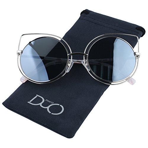 rotondi polarizzati sole Borded W002 High Silvery Polarized Eye Fashion Duco Occhiali Pointed da Cat Geometric For Women ECqnWzxcU